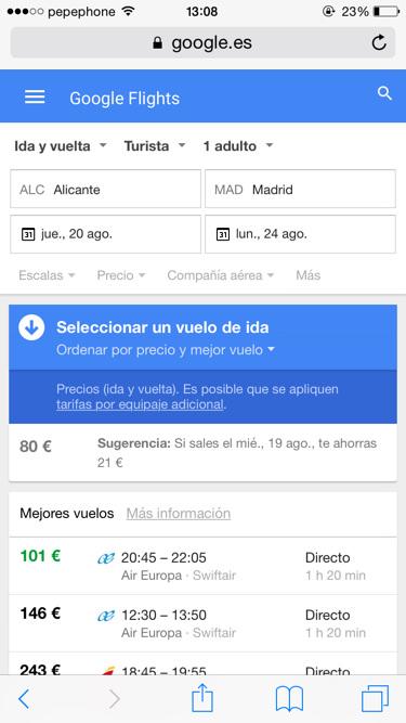 Funciones de google vuelos