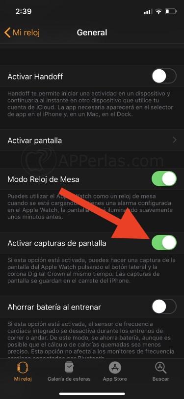 Captura de pantalla con el Apple Watch