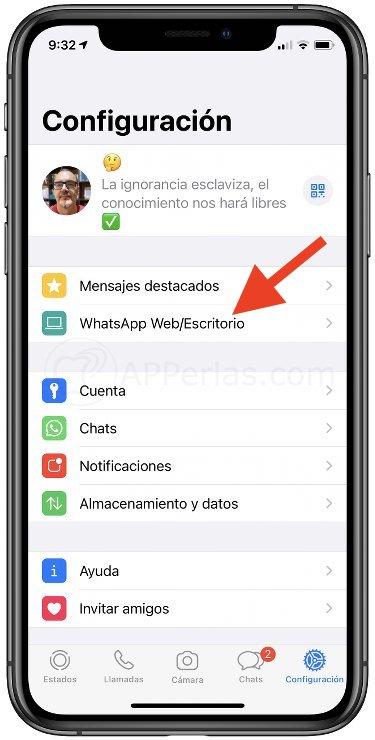 Opción WhatsApp en la app para iOS