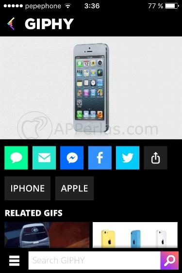 Giphy app catálogo GIF