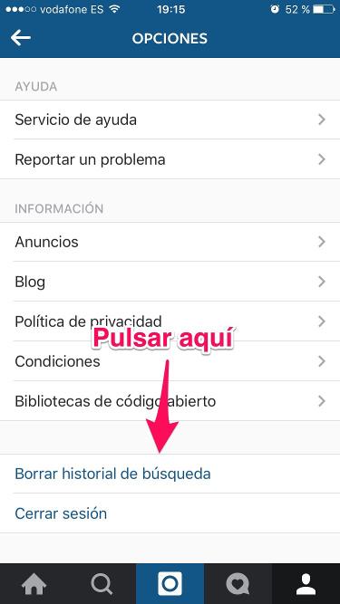 historial de búsqueda en Instagram 2