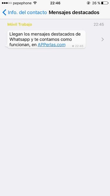 Mensajes destacados de Whatsapp función