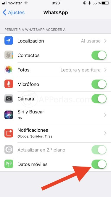 Desactivar datos móviles en Whatsapp