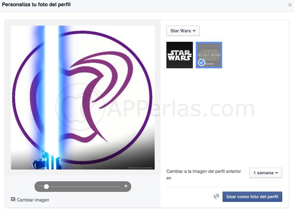 Espada laser en foto de perfil de Facebook