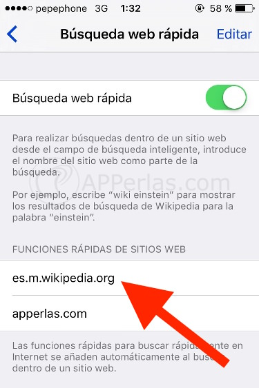 búsqueda de web función iPhone