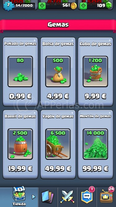 Clash royal gemas