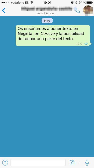 Cambiar letra en Whatsapp