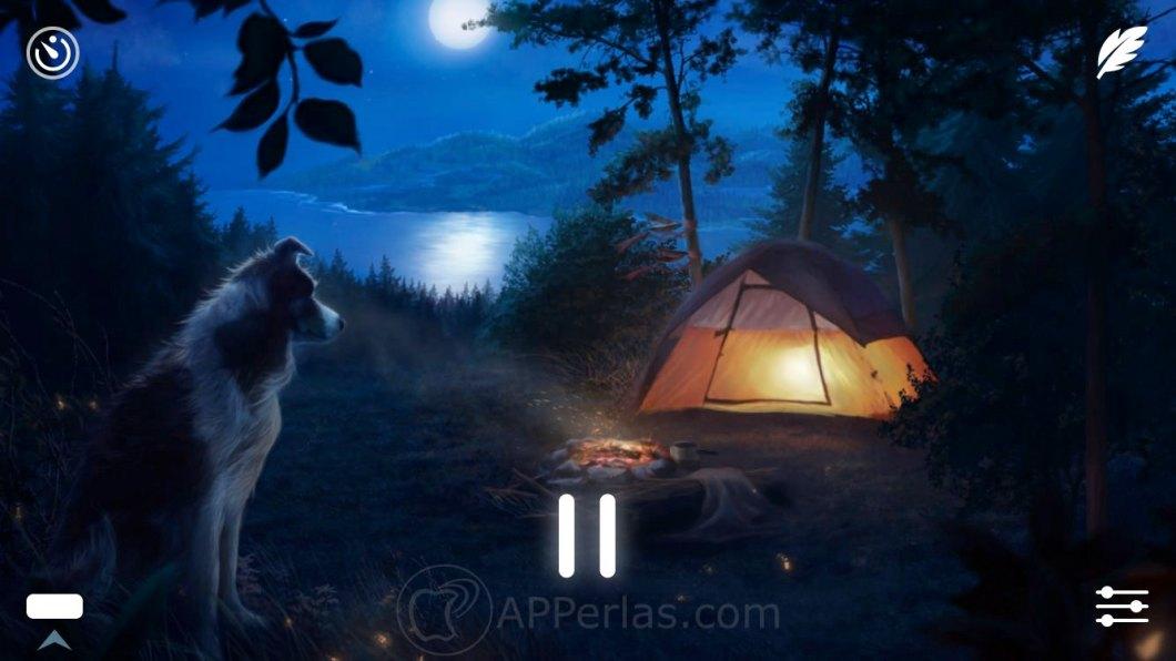 Interfaz de esta app de sonidos relajantes