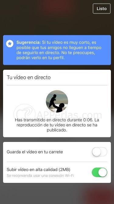 Retransmisión de vídeo en directo en facebook