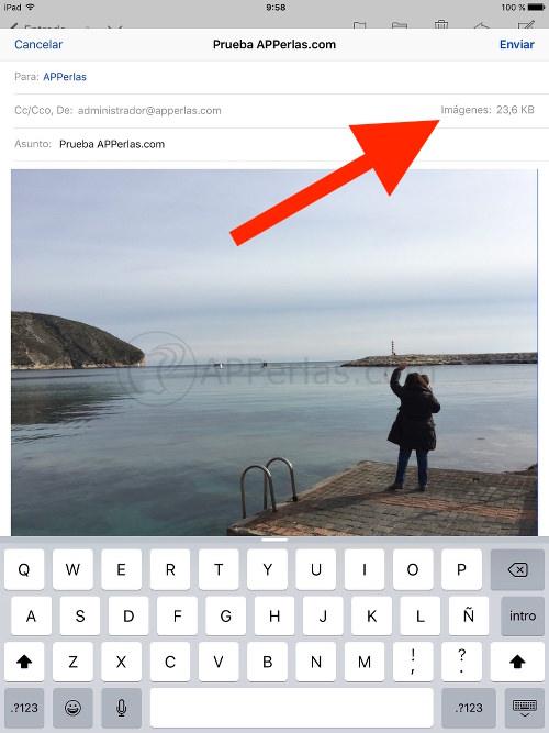 Cambiar el tamaño de fotos enviadas por mail desde iPad