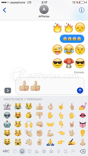 Emoticonos de imessage en ios 10
