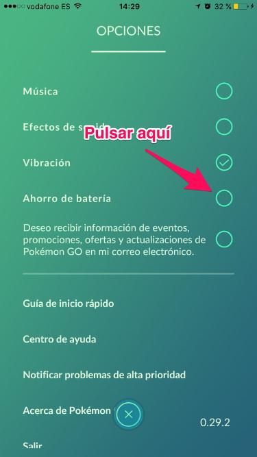 batería en Pokémon Go 2