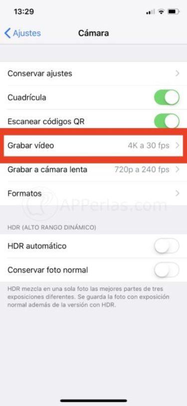 Activar 4k en iPhone