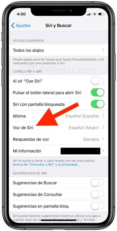 Elige la voz de Siri que desees