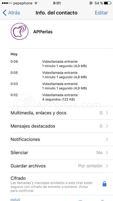 Consultar el consumo de datos videollamadas de Whatsapp