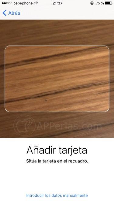 Escanea tu tarjeta a Apple PAY