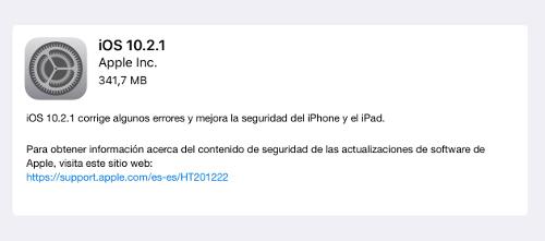 iOS 10.2.1 descargar