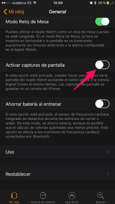 capturas de pantalla en el Apple Watch 1