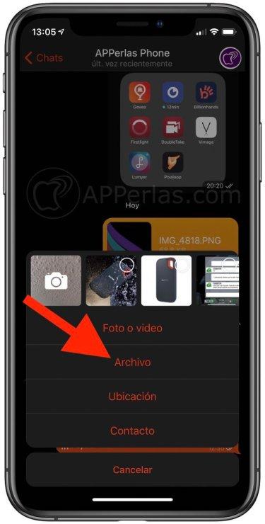 Selecciona la opción Archivo en Telegram