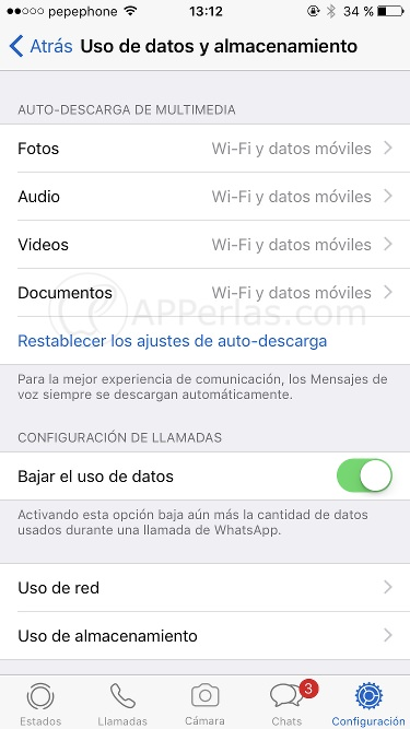 Gestión de la auto-descarga en Whatsapp 4