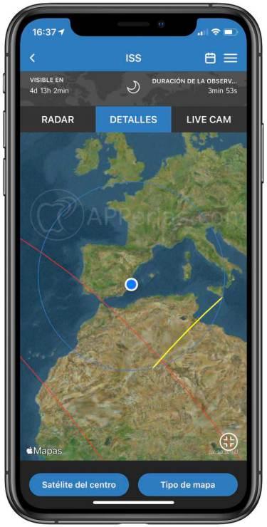 Información sobre el trayecto visible de la ISS desde nuestra localización