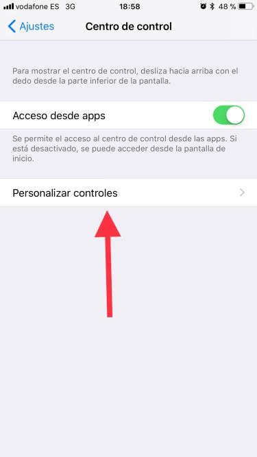 centro de control de iOS 11 1