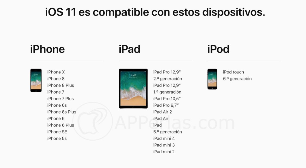 Dispositivos compatibles con iOS 11