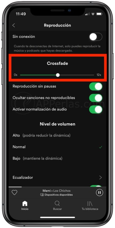 Configurar Crossfade en Spotify