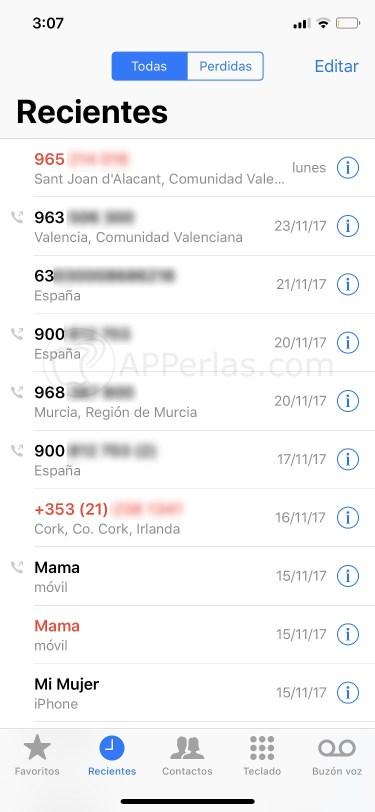 Localización del número de teléfono