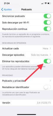 Activa la opción de eliminar podcasts automáticamente del iPhone