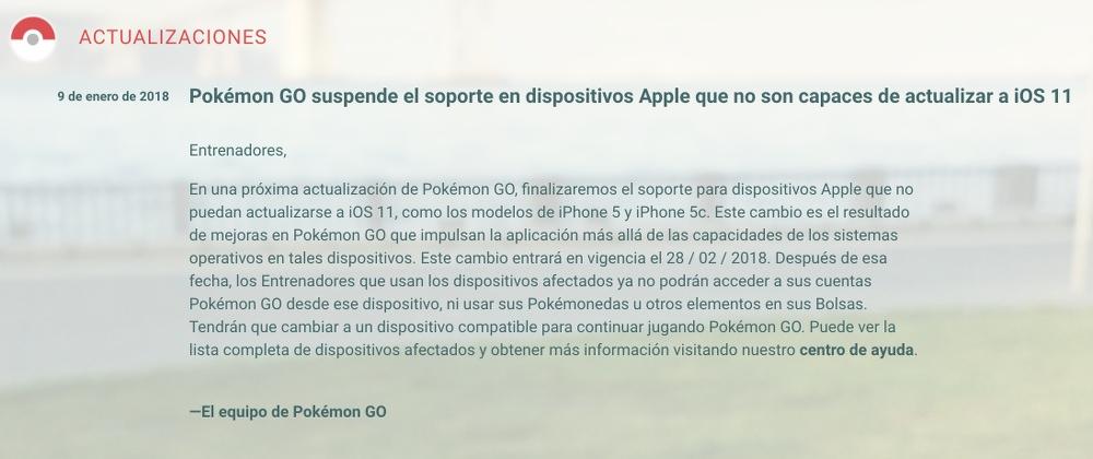 Nota oficial sobre la actualización de Pokémon GO
