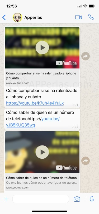 Vídeos de Youtube enviados por Whatsapp