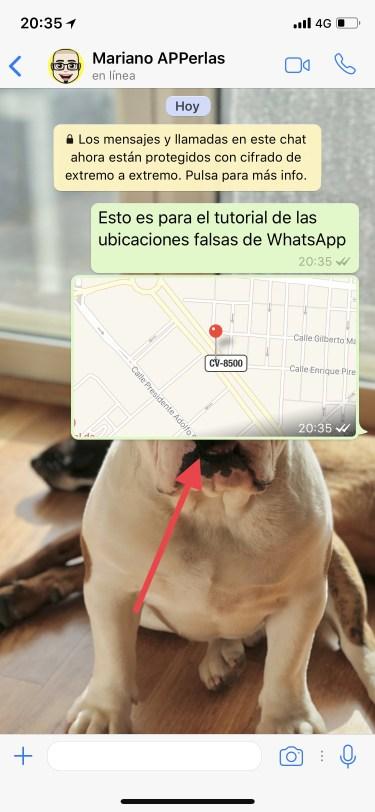 una ubicación falsa por WhatsApp 1