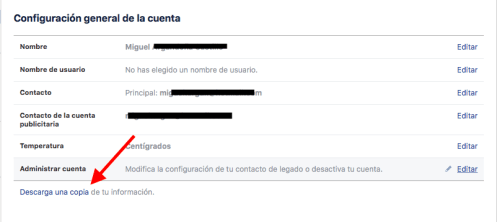 copia de seguridad de Facebook 2