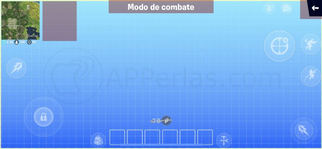 Pantalla de cambio de controles en Fortnite para iPhone