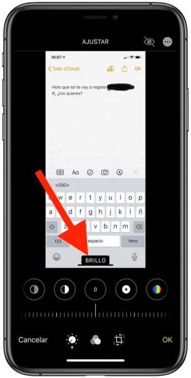 Opción BRILLO en el editor fotográfico de iOS