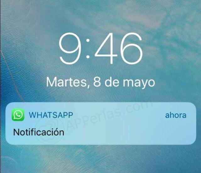 Antigua notificación con previsulaziación desactivada