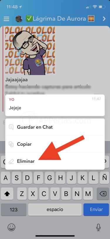 Borrar mensajes en Snapchat