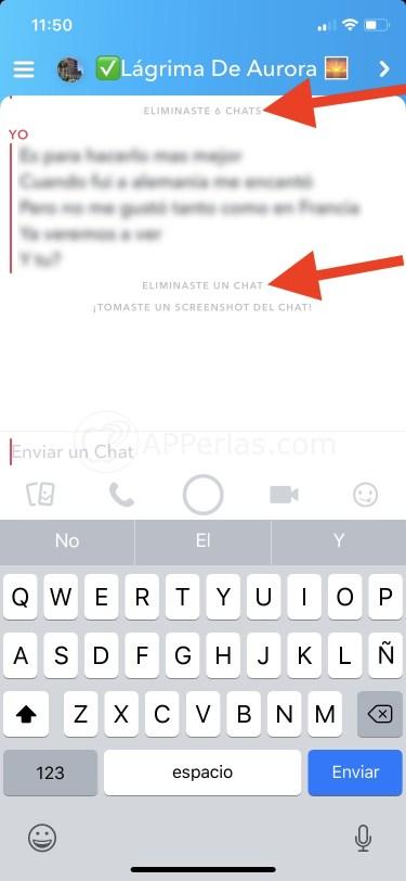 Aviso de Snapchat de chat eliminado