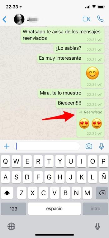 whatsapp te avisa de mensaje reenviado