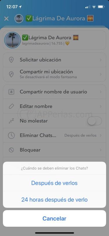 Mensajes privados en Snapchat