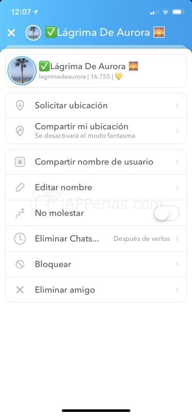 Opciones de los mensajes de Snapchat privados