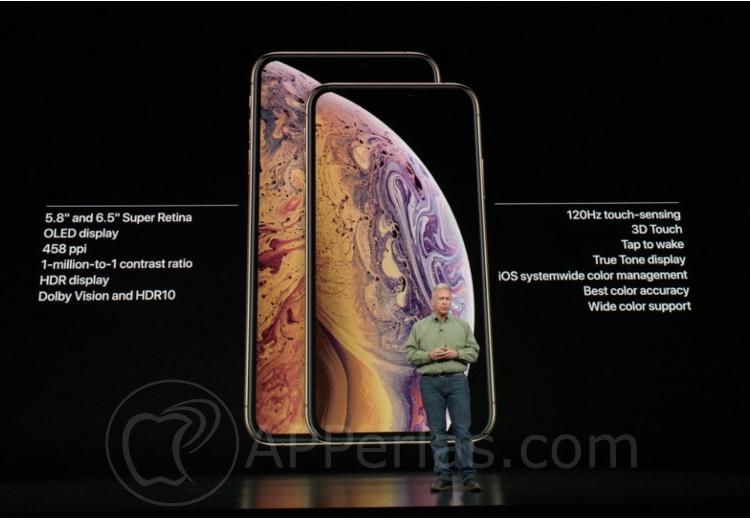 Especificaciones de las pantallas del iPhone Xs y Xs MAX