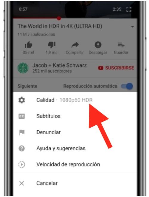Vídeo de Youtube en HDR