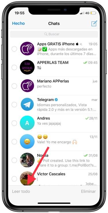 chats como leídos en Telegram 2