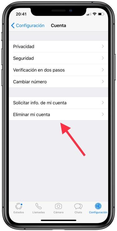 borrar una cuenta de WhatsApp 2