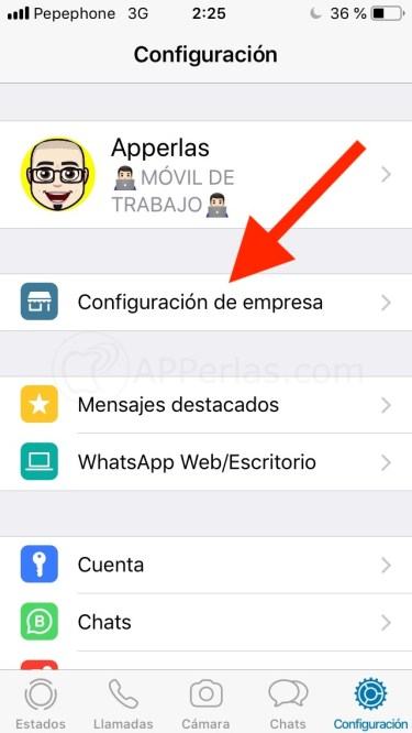 Opción de WhatsApp Business