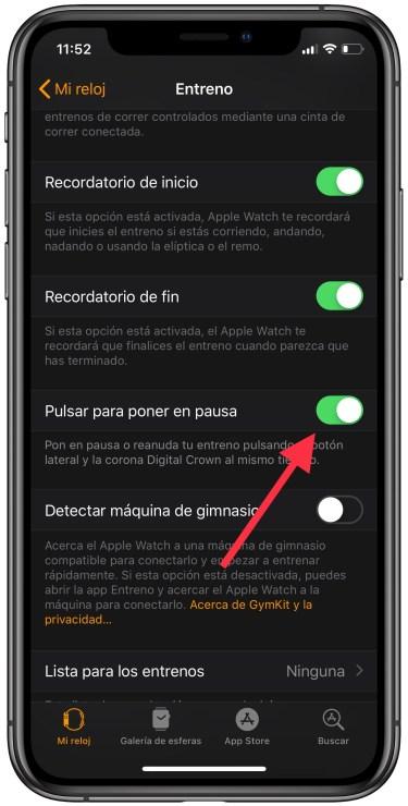 pausar un entreno en el Apple Watch 2