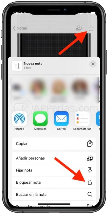 Bloquear nota en iOS