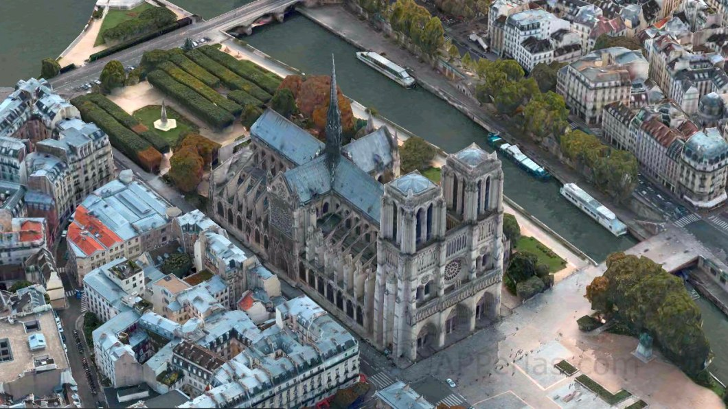 Notre Dame antes del incendio vista en Apple Maps